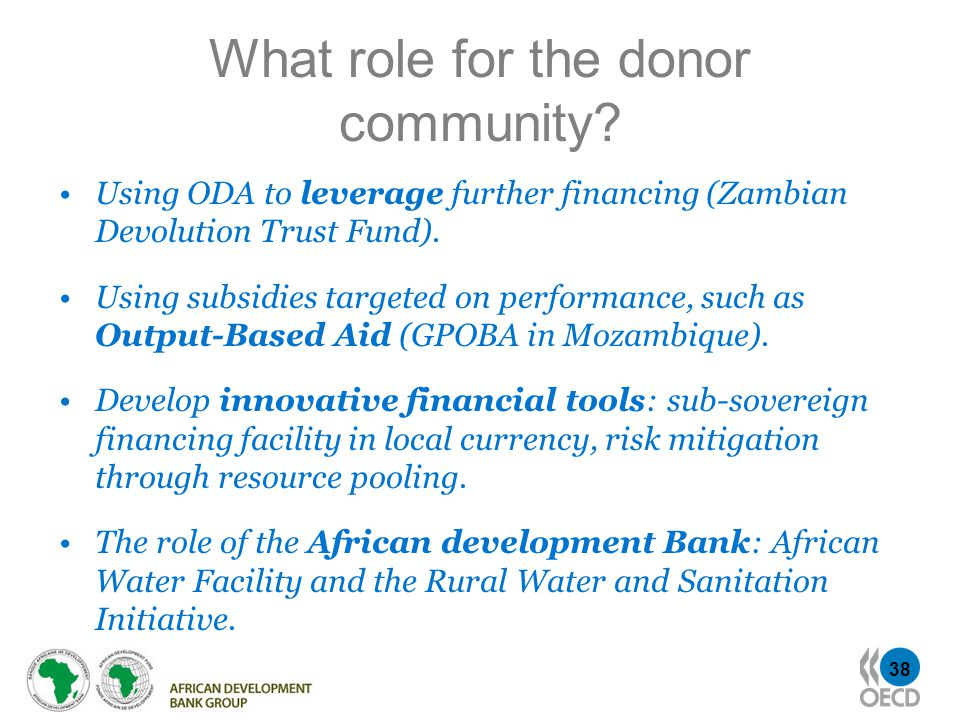38 What role for the donor community.