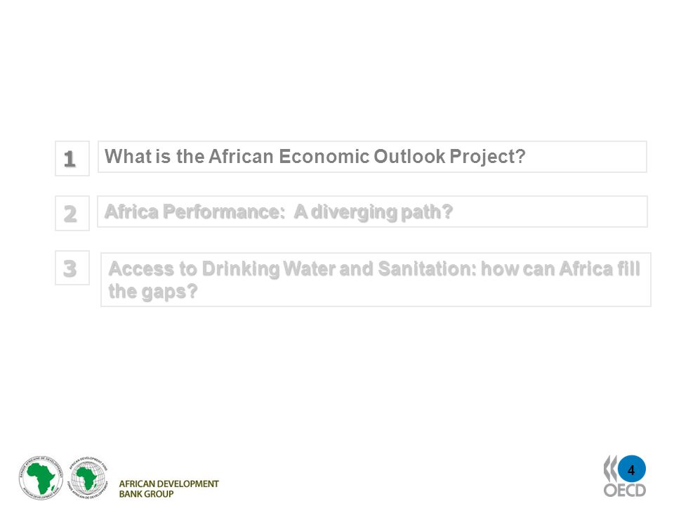 4 What is the African Economic Outlook Project. 1 Africa Performance: A diverging path.