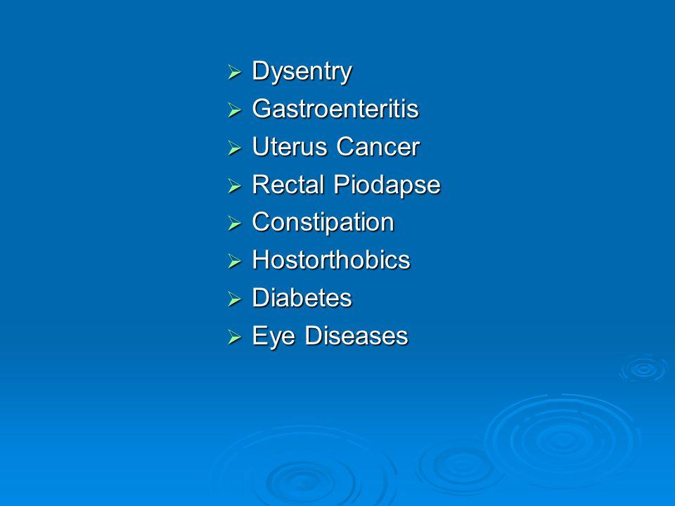 Dysentry Dysentry Gastroenteritis Gastroenteritis Uterus Cancer Uterus Cancer Rectal Piodapse Rectal Piodapse Constipation Constipation Hostorthobics