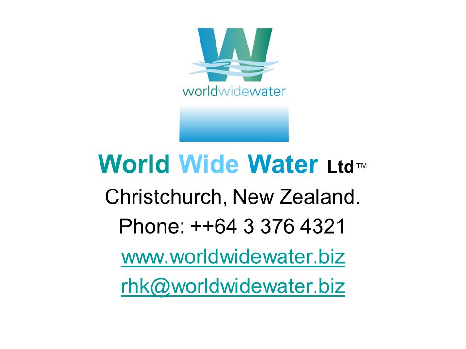 World Wide Water Ltd Christchurch, New Zealand.
