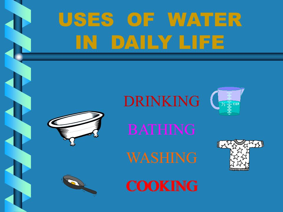 Water for life Water for irrigation Water for navigation Water for energy Water in daily use Water in industry
