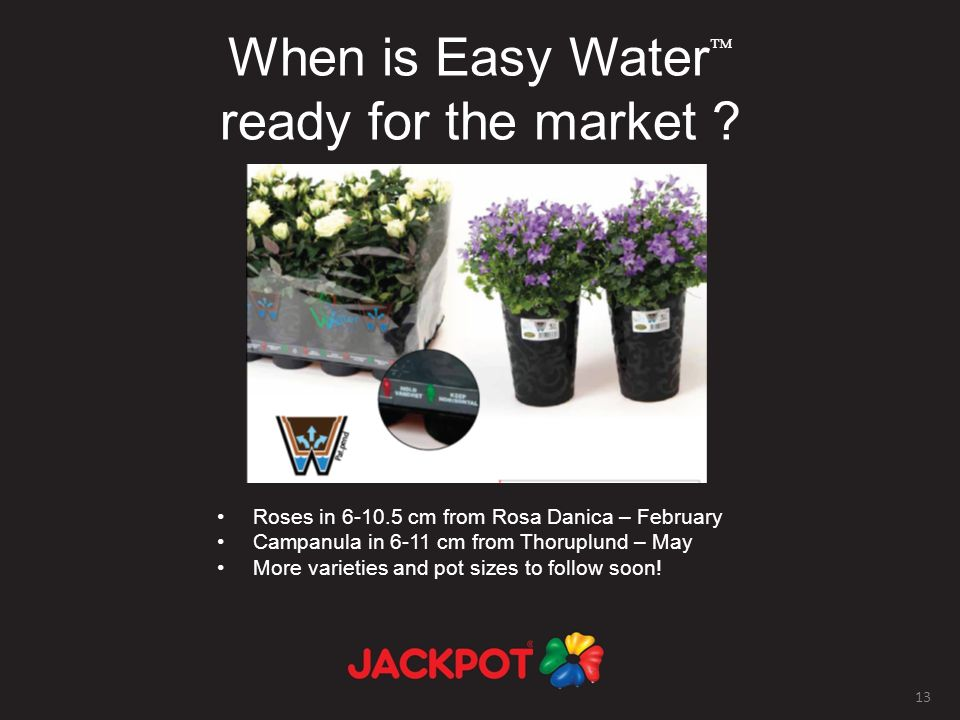 13 When is Easy Water ready for the market .