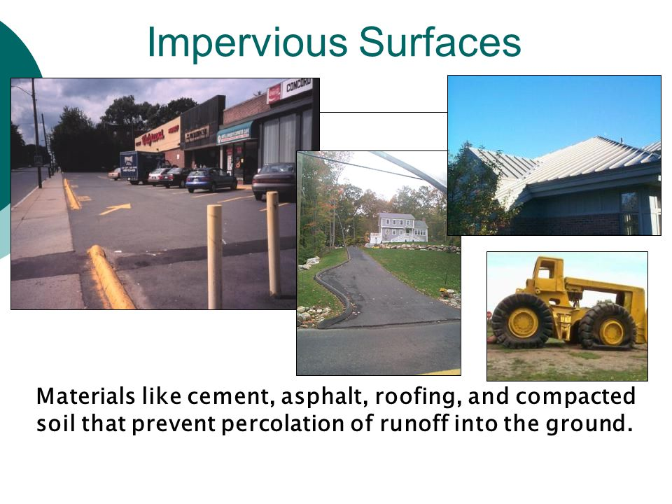 Components of Impervious Cover in the Urban Landscape Roads Parking Buildings Sidewalks Driveways Center for Watershed Protection