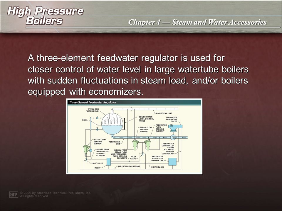 Chapter 4 Steam and Water Accessories A two-element feedwater regulator has a diaphragm assembly on the top part of the regulator valve that senses th