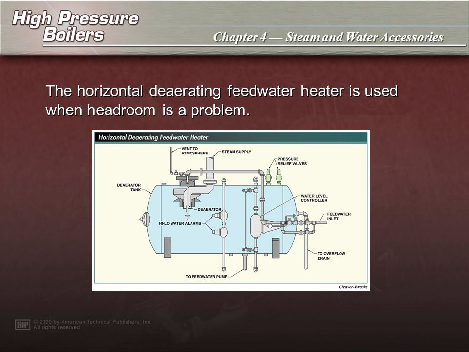 Chapter 4 Steam and Water Accessories The horizontal deaerating feedwater heater is used when headroom is a problem.