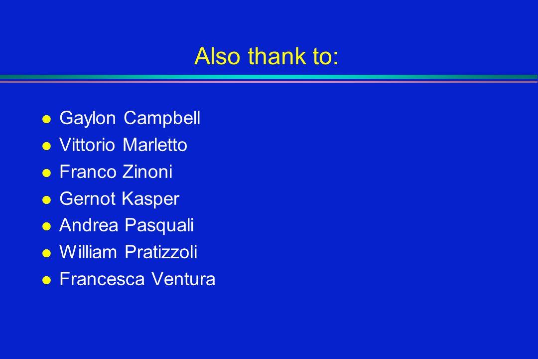 Also thank to: l Gaylon Campbell l Vittorio Marletto l Franco Zinoni l Gernot Kasper l Andrea Pasquali l William Pratizzoli l Francesca Ventura