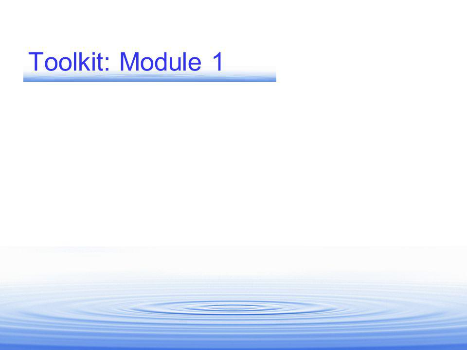 Toolkit: Module 1