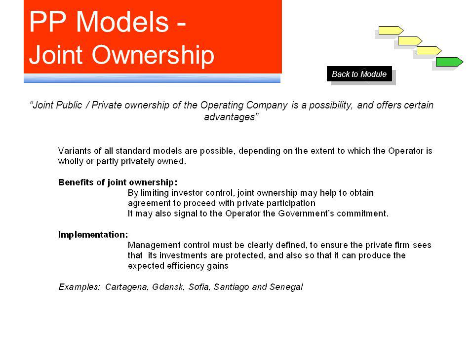 PP Models - Joint Ownership Joint Public / Private ownership of the Operating Company is a possibility, and offers certain advantages Back to Module