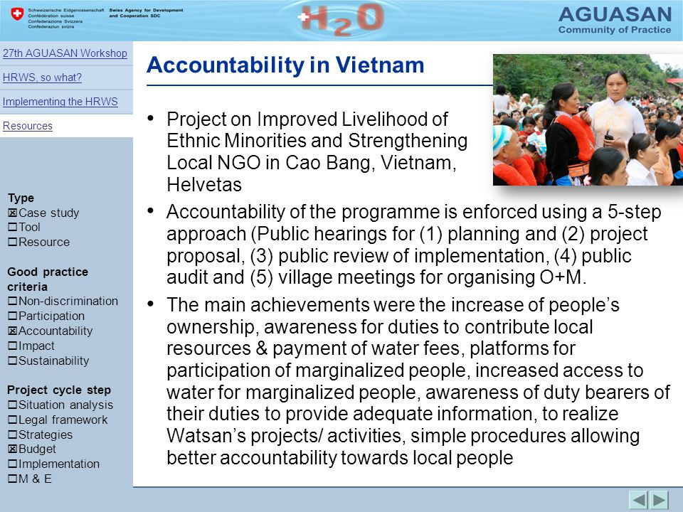 Accountability in Vietnam Project on Improved Livelihood of Ethnic Minorities and Strengthening Local NGO in Cao Bang, Vietnam, Helvetas Accountabilit