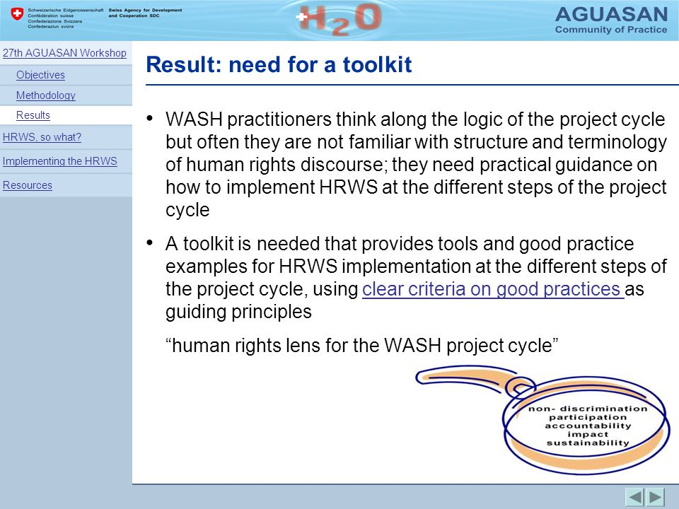 Result: need for a toolkit WASH practitioners think along the logic of the project cycle but often they are not familiar with structure and terminolog