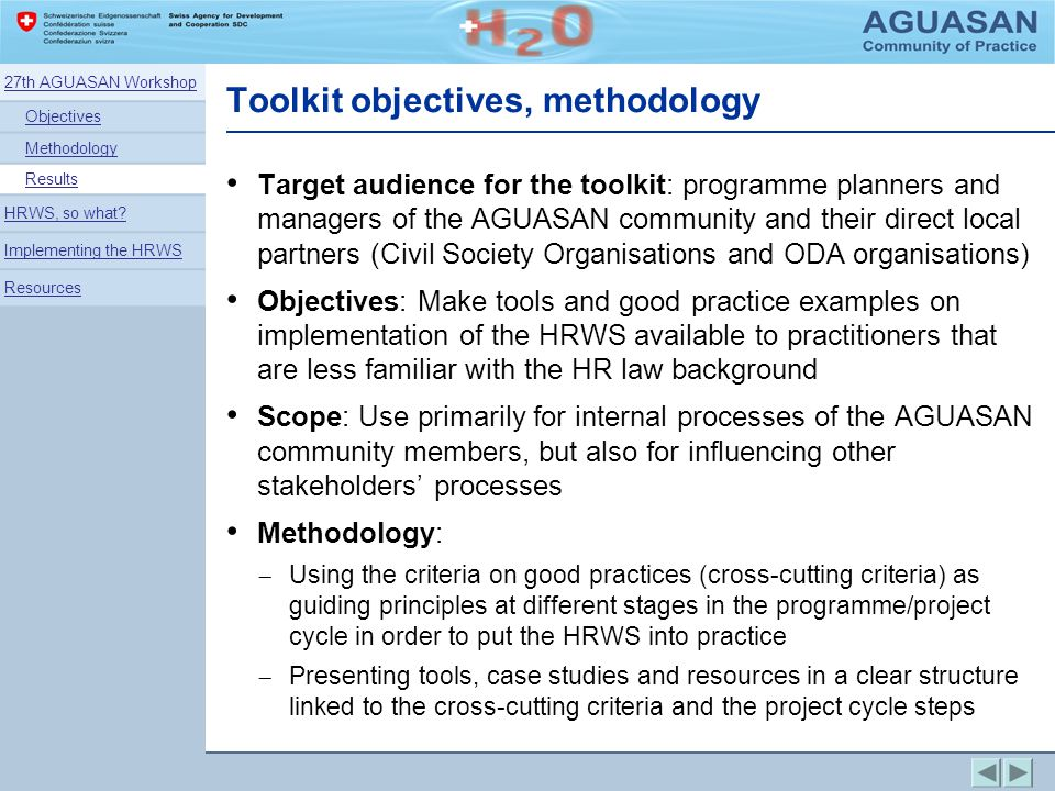 Target audience for the toolkit: programme planners and managers of the AGUASAN community and their direct local partners (Civil Society Organisations