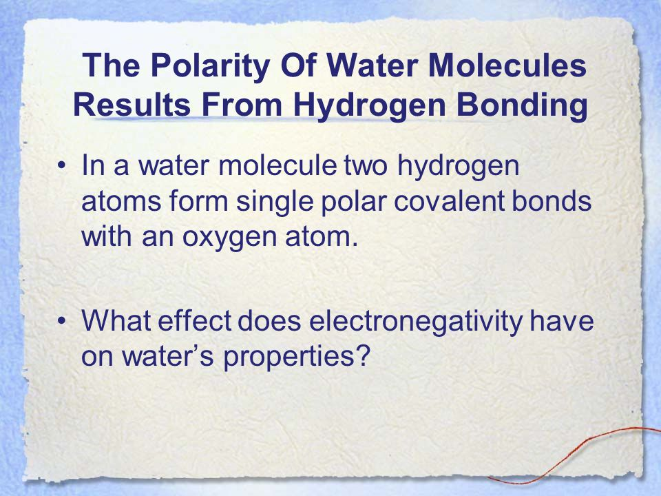 The Polarity Of Water Molecules Results From Hydrogen Bonding In a water molecule two hydrogen atoms form single polar covalent bonds with an oxygen a
