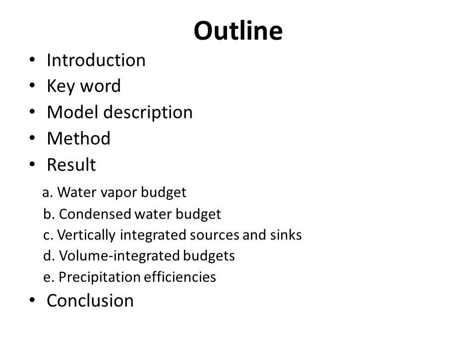 Outline Introduction Key word Model description Method Result a.