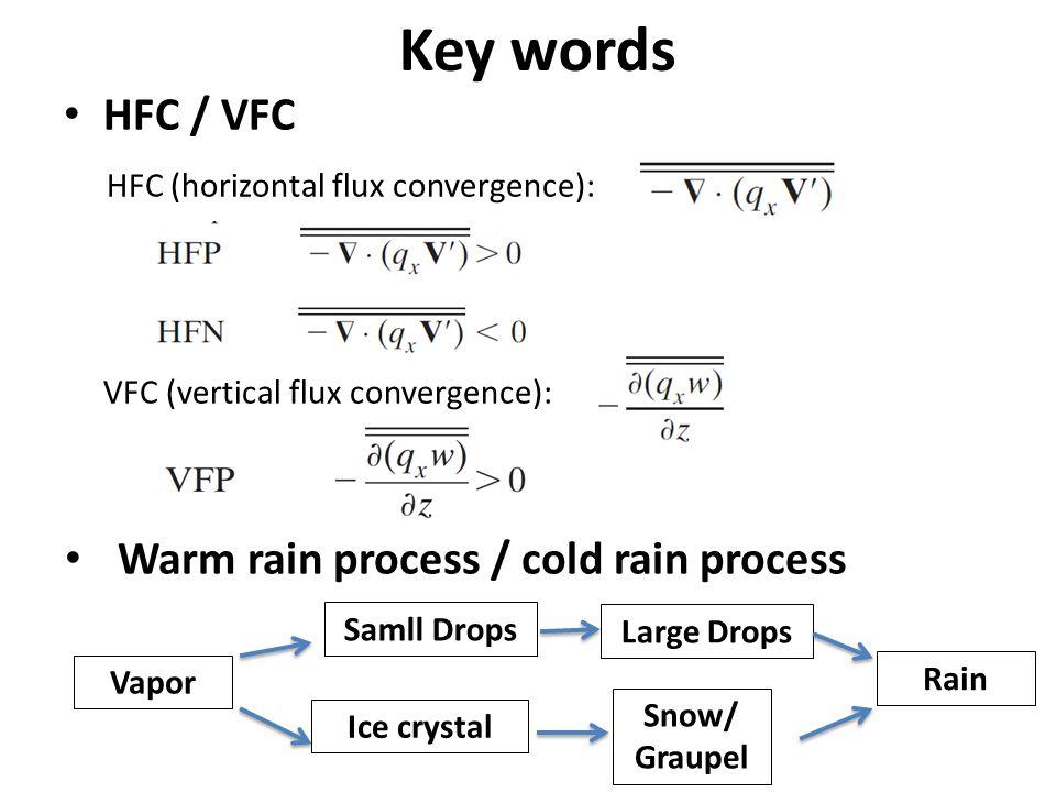 Key words HFC / VFC HFC (horizontal flux convergence): VFC (vertical flux convergence): Warm rain process / cold rain process Vapor Samll Drops Large Drops Rain Ice crystal Snow/ Graupel