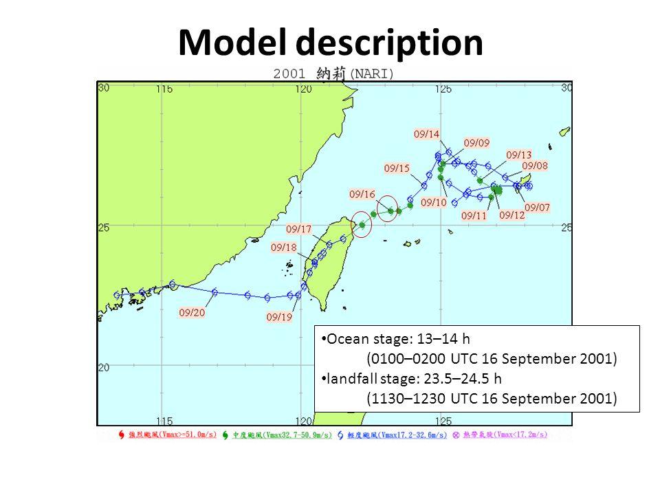 Model description Ocean stage: 13–14 h (0100–0200 UTC 16 September 2001) landfall stage: 23.5–24.5 h (1130–1230 UTC 16 September 2001)