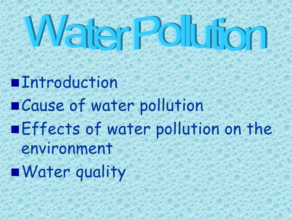 Introduction Cause of water pollution Effects of water pollution on the environment Water quality