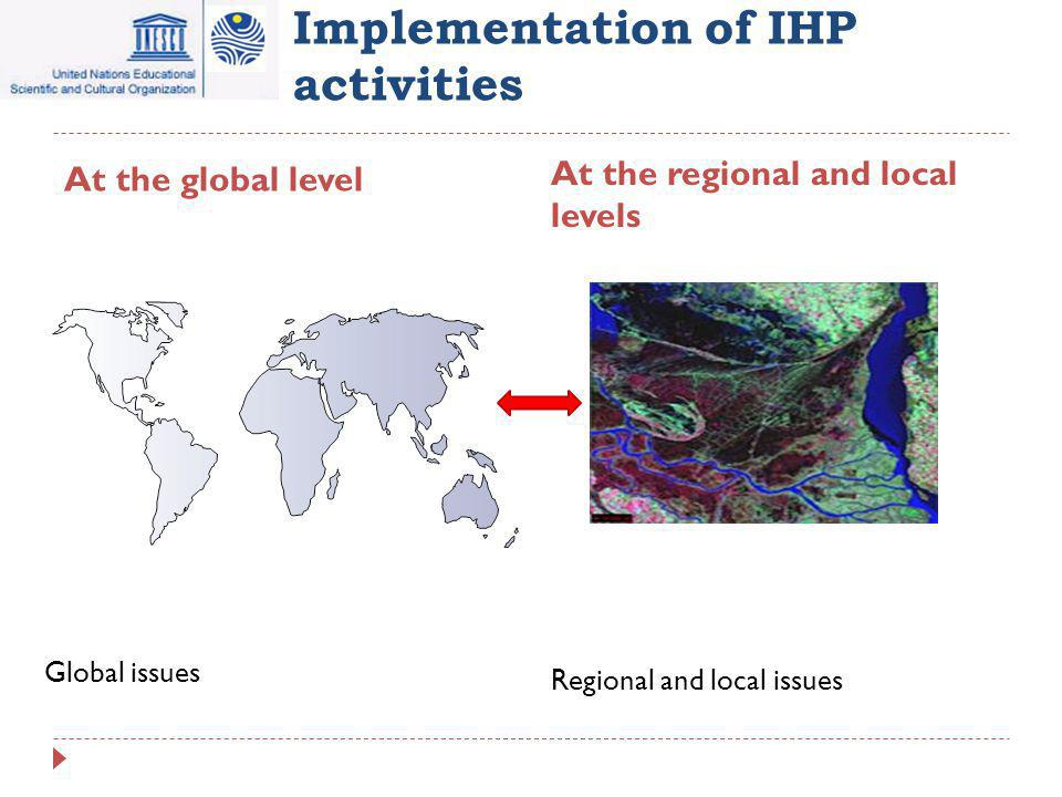 Implementation of IHP activities At the global level At the regional and local levels Global issues Regional and local issues