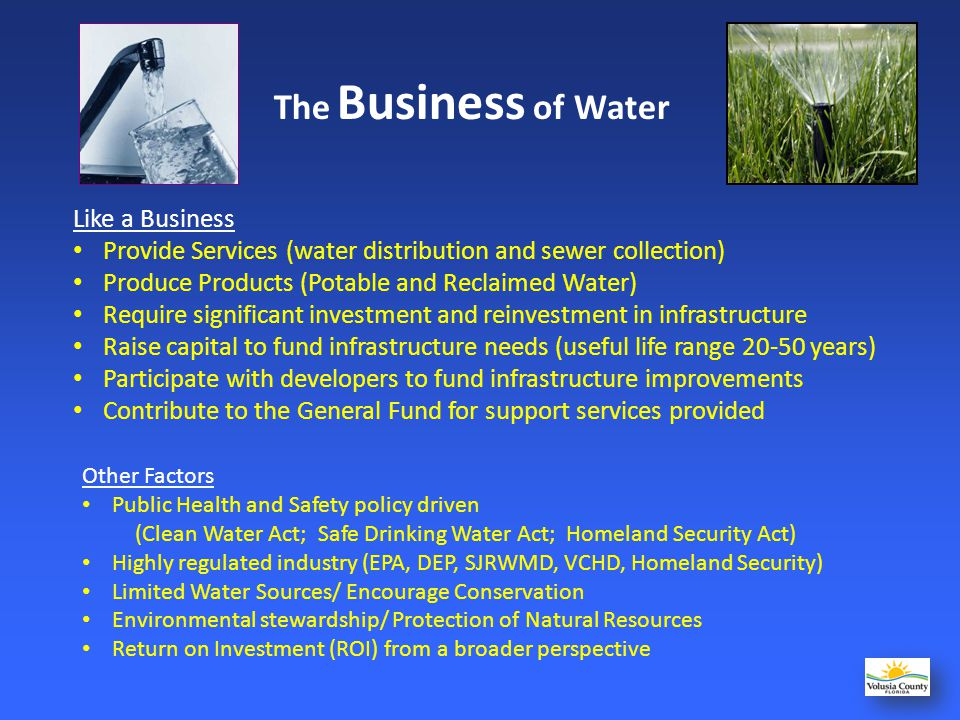 Reclaimed Water Treated wastewater used for irrigation purposes, preventing discharge to our waterways.