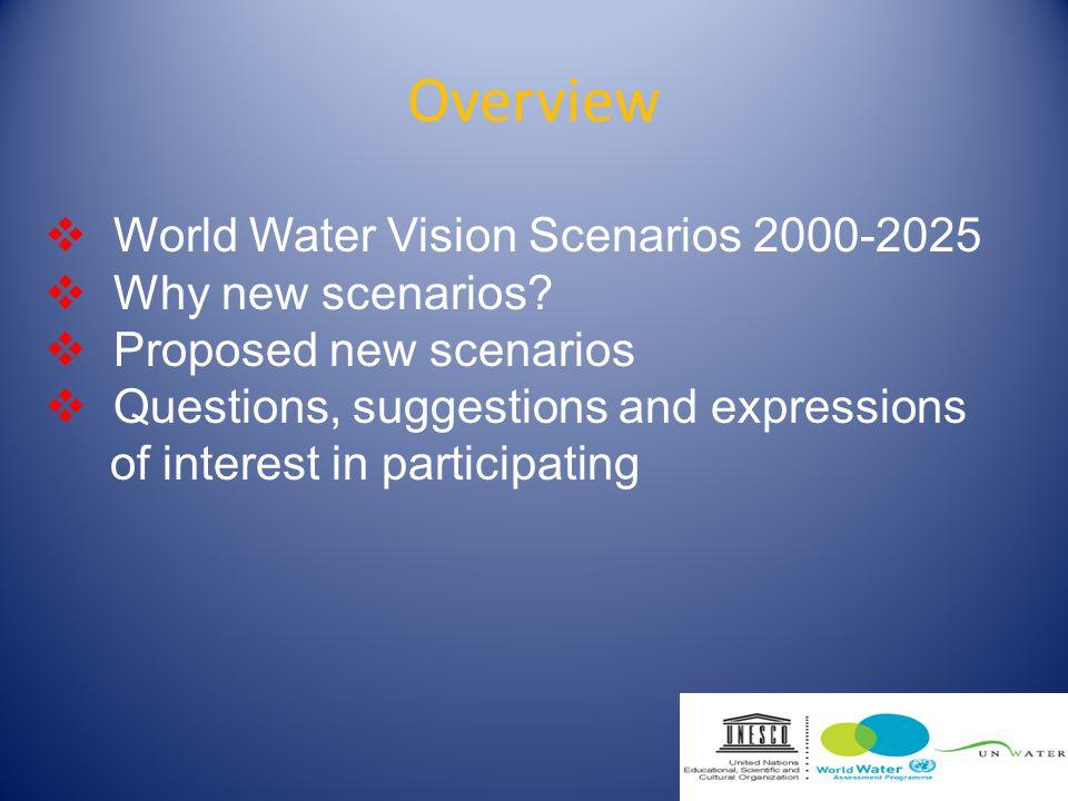 Overview World Water Vision Scenarios 2000-2025 Why new scenarios.