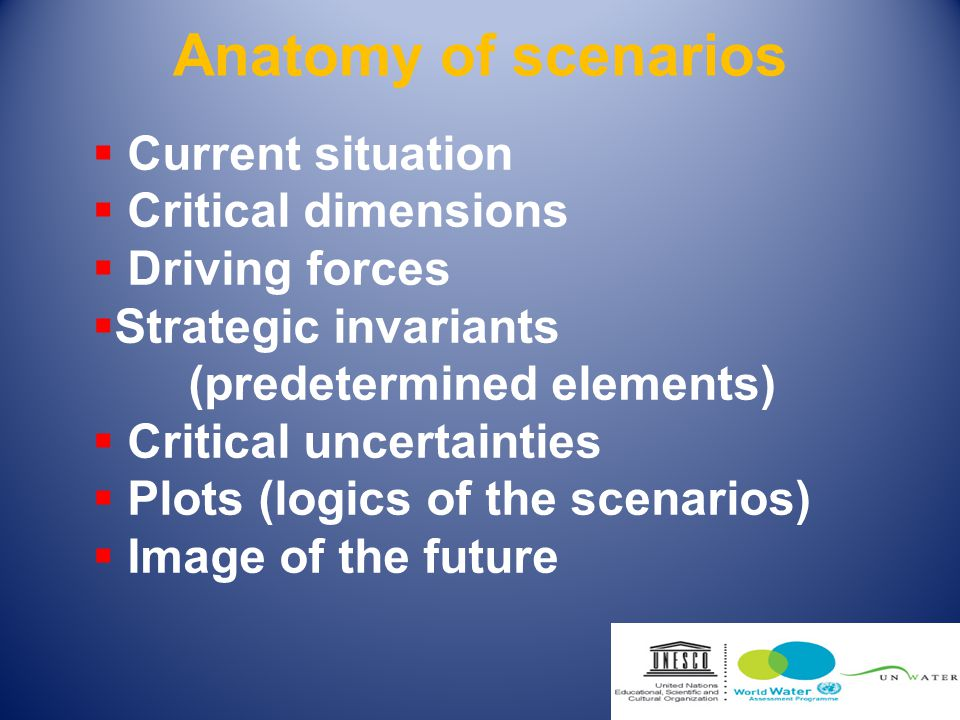 Outcomes: Scenarios: - Business-as-Usual - Technology, Economics and Private Sector - Values and Lifestyles World Water Vision (backcast)