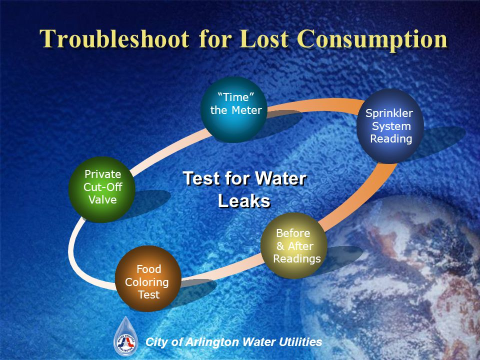 City of Arlington Water Utilities Troubleshoot for Lost Consumption Private Cut-Off Valve Time the Meter Sprinkler System Reading Food Coloring Test Test for Water Leaks Before & After Readings