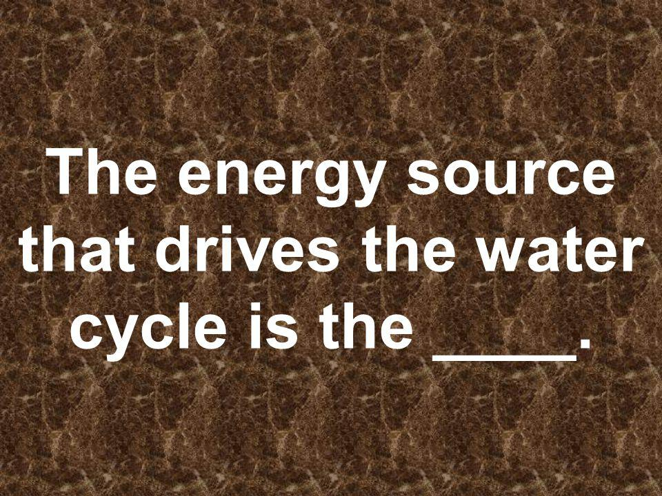 The energy source that drives the water cycle is the ____.