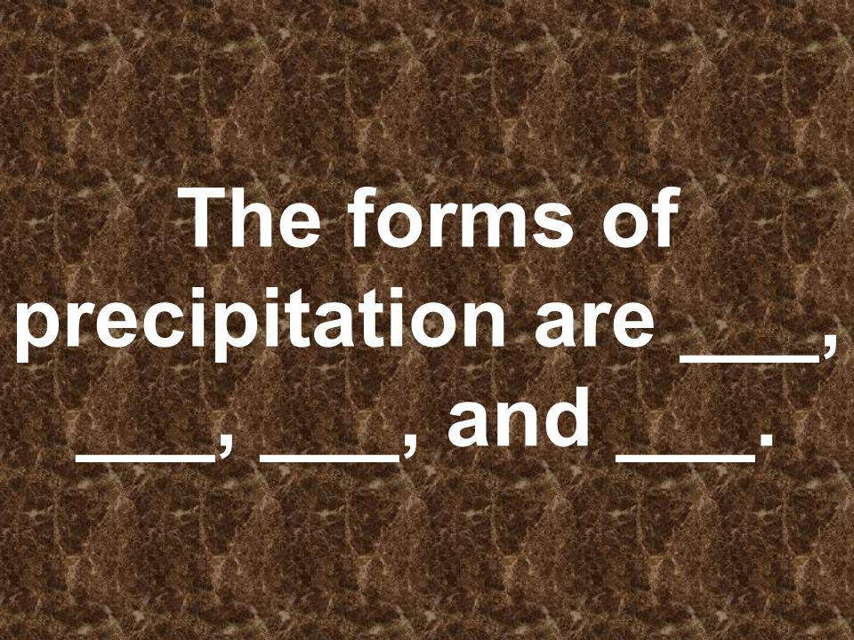 The forms of precipitation are ___, ___, ___, and ___.