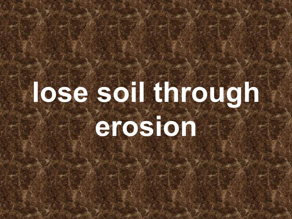 lose soil through erosion