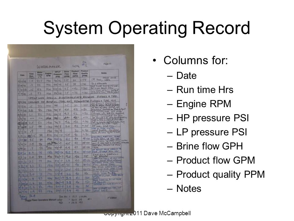 Copyright 2011 Dave McCampbell System Operating Record Columns for: –Date –Run time Hrs –Engine RPM –HP pressure PSI –LP pressure PSI –Brine flow GPH –Product flow GPM –Product quality PPM –Notes