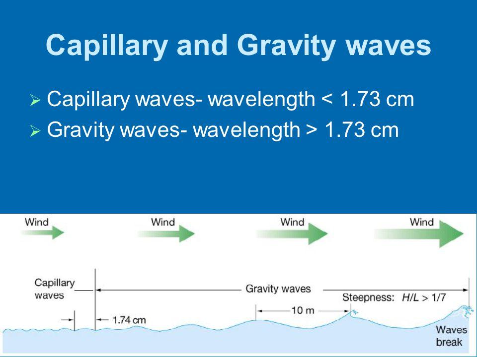 17 Capillary and Gravity waves Capillary waves- wavelength < 1.73 cm Gravity waves- wavelength > 1.73 cm