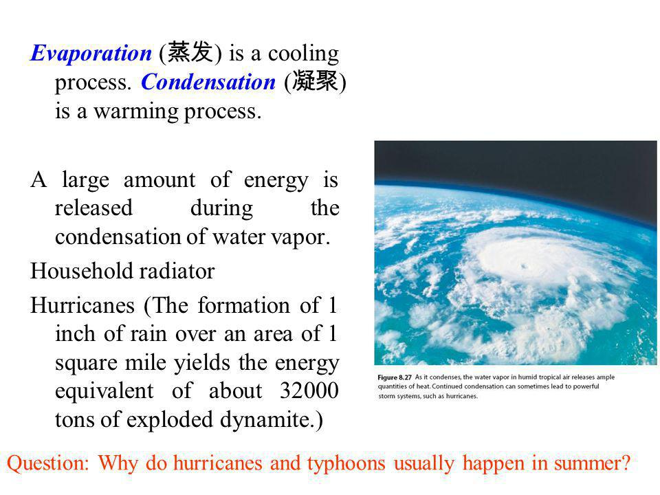 Evaporation ( ) is a cooling process. Condensation ( ) is a warming process. A large amount of energy is released during the condensation of water vap