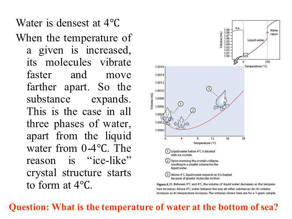 8.5 It takes a lot of energy to change the temperature of water Water has a very high specific heat capacity ( ) because of the strong hydrogen bond.