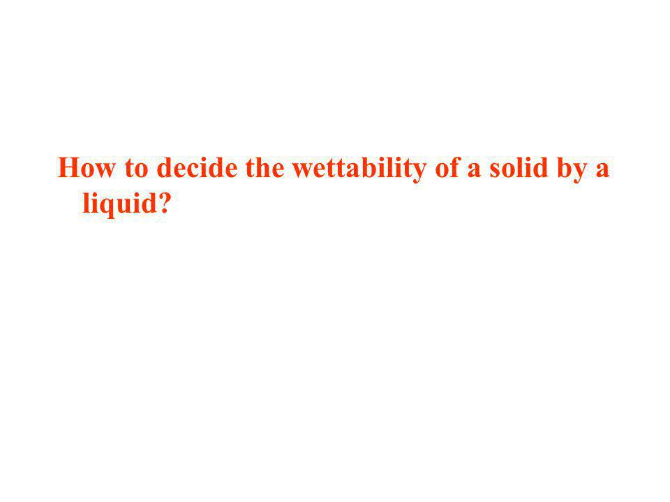 How to decide the wettability of a solid by a liquid?