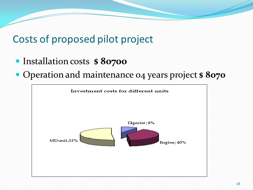 16 Costs of proposed pilot project Installation costs $ 80700 Operation and maintenance 04 years project $ 8070
