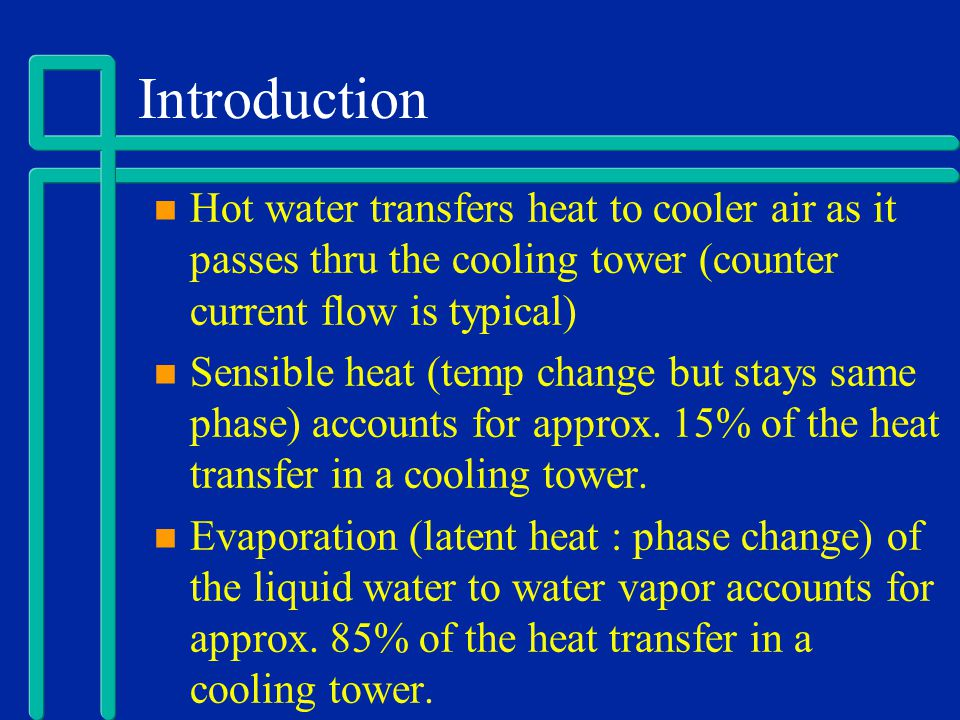 Factors that affect Cooling Tower Operations Relative Humidity of air (want low RH) Temperature of air (want low air temperature) Wind Velocity Water Contamination