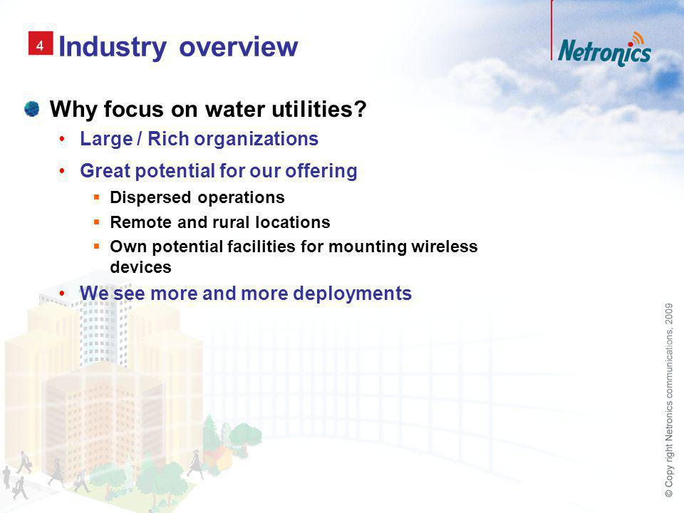 5 Our visionary application solution Wireless Data Networks for Efficient Monitoring and Control What is monitored Flow Quality of water Offer for the infrastructure Migrate Legacy SCADA Systems To Modern Backhaul Technologies More reliable and secure connection Lower maintenance costs – move from proprietary to standard protocols