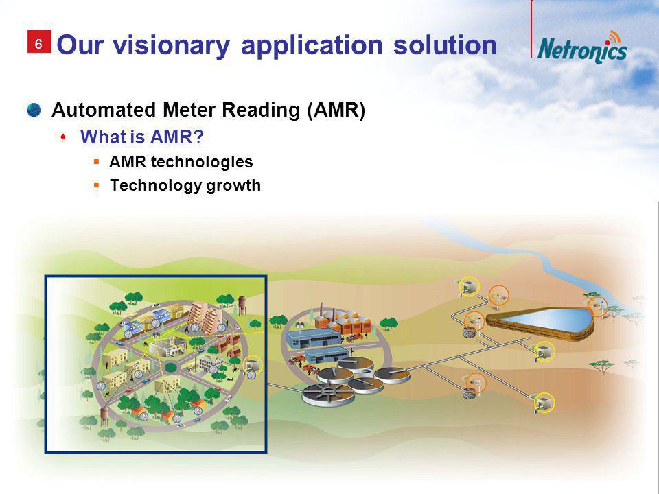 7 AMR (1) AMR Remote collection of consumption data from utility (Electric, Gas or Water) meters using radio frequency, telephony, power-line or satellite communications.
