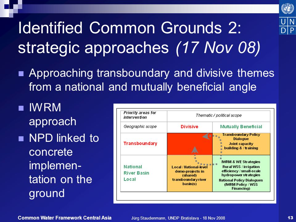 Jürg Staudenmann, UNDP Bratislava - 18 Nov 200813 Common Water Framework Central Asia Identified Common Grounds 2: strategic approaches (17 Nov 08) Approaching transboundary and divisive themes from a national and mutually beneficial angle IWRM approach NPD linked to concrete implemen- tation on the ground