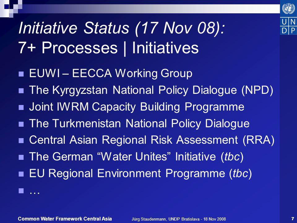 Jürg Staudenmann, UNDP Bratislava - 18 Nov 200818 Common Water Framework Central Asia Open questions for discussion How far to go.