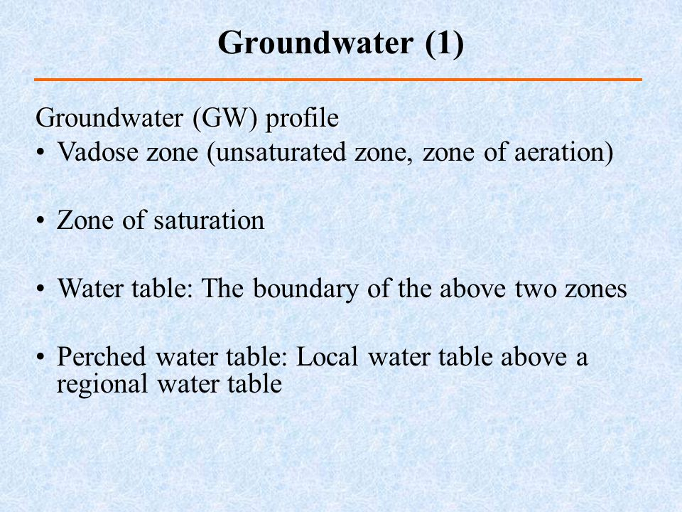 Groundwater (GW) profile Vadose zone (unsaturated zone, zone of aeration) Zone of saturation Water table: The boundary of the above two zones Perched