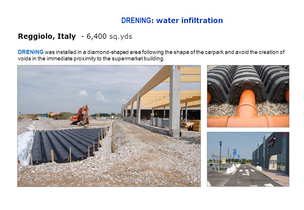 DRENING : water infiltration Reggiolo, Italy - 6,400 sq.yds DRENING was installed in a diamond-shaped area following the shape of the carpark and avoid the creation of voids in the immediate proximity to the supermarket building.