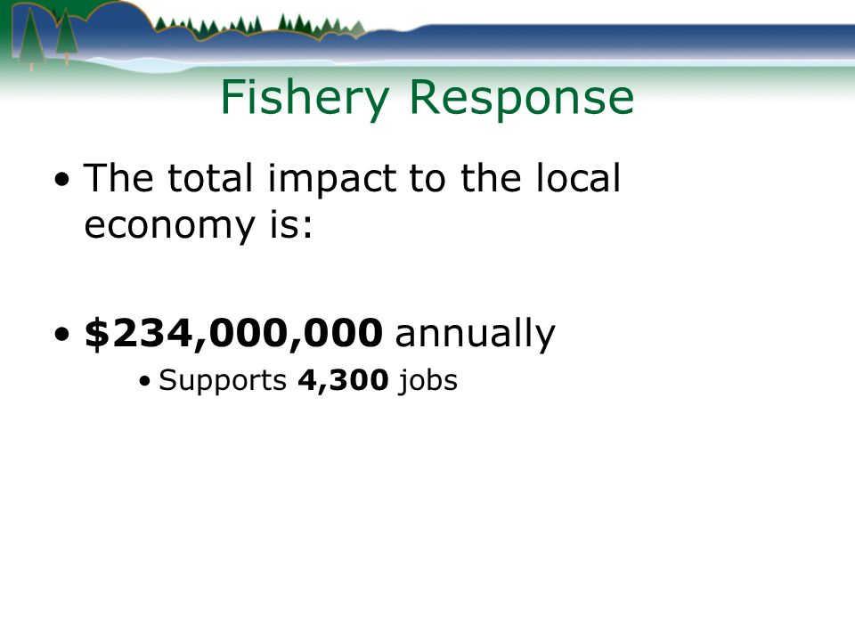 Fishery Response The total impact to the local economy is: $234,000,000 annually Supports 4,300 jobs