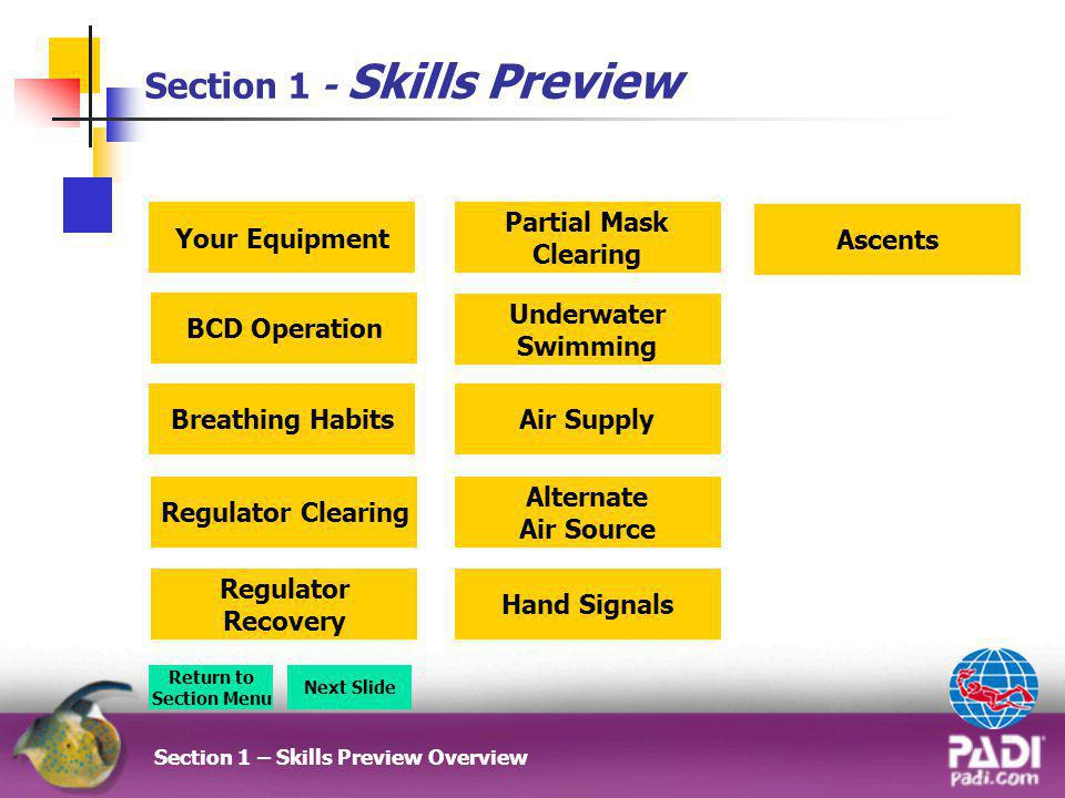 Skills Preview – Snorkel Swim Section 2-5 Confined Water Dive Skills Preview Video Return to Briefing