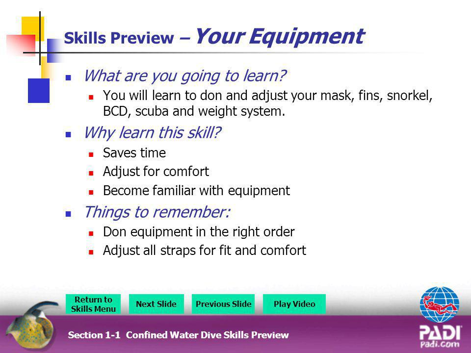 Skills Preview – Your Equipment What are you going to learn? You will learn to don and adjust your mask, fins, snorkel, BCD, scuba and weight system.
