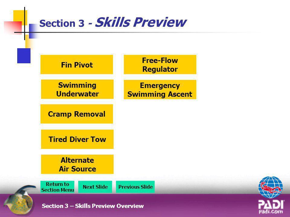 Section 3 - Skills Preview Section 3 – Skills Preview Overview Return to Section Menu Next SlidePrevious Slide Emergency Swimming Ascent Free-Flow Reg