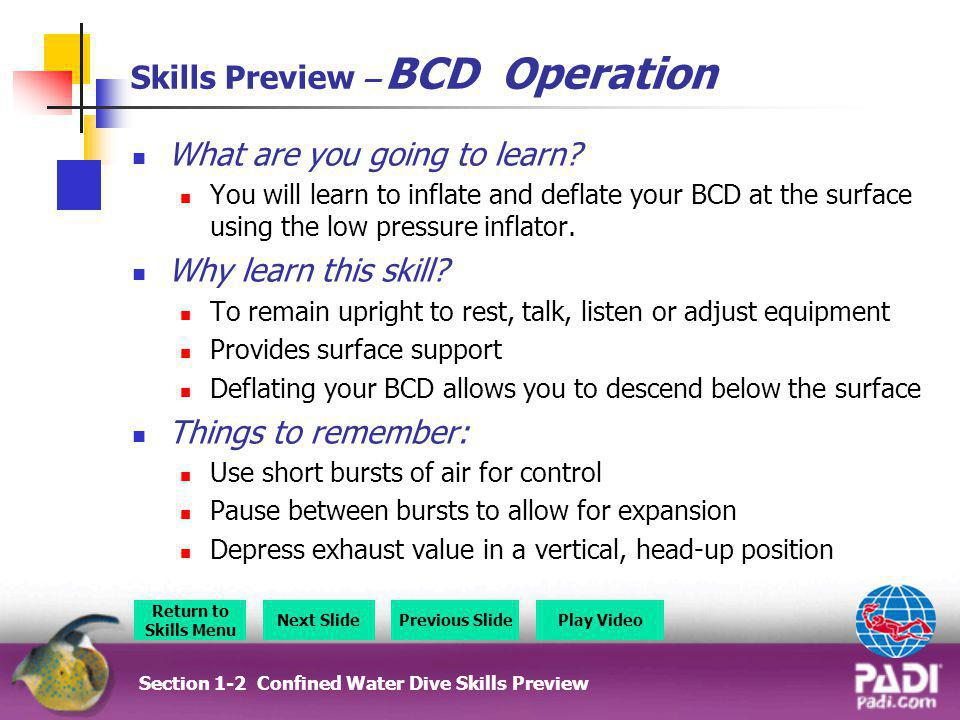 Section 5 - Skills Preview Section 5 – Skills Preview Overview Return to Section Menu Next SlidePrevious Slide Scuba Unit Removal U/W Weight Removal Underwater Equipment Removal