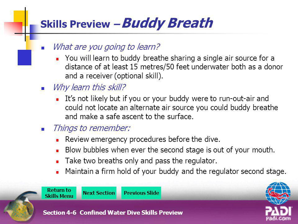 Skills Preview – Buddy Breath What are you going to learn? You will learn to buddy breathe sharing a single air source for a distance of at least 15 m