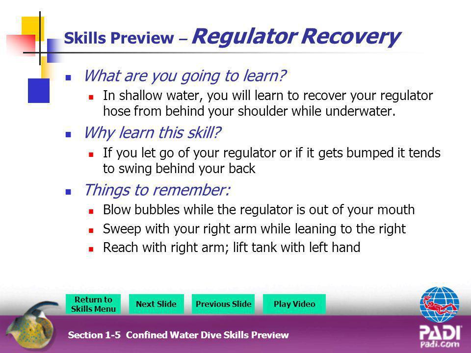 Section 4 - Skills Preview Section 4 – Skills Preview Overview Return to Section Menu Next SlidePrevious Slide Buddy Breathing Surface Dive No Mask Breathing Snorkel Ascents Hovering Hyperventilation
