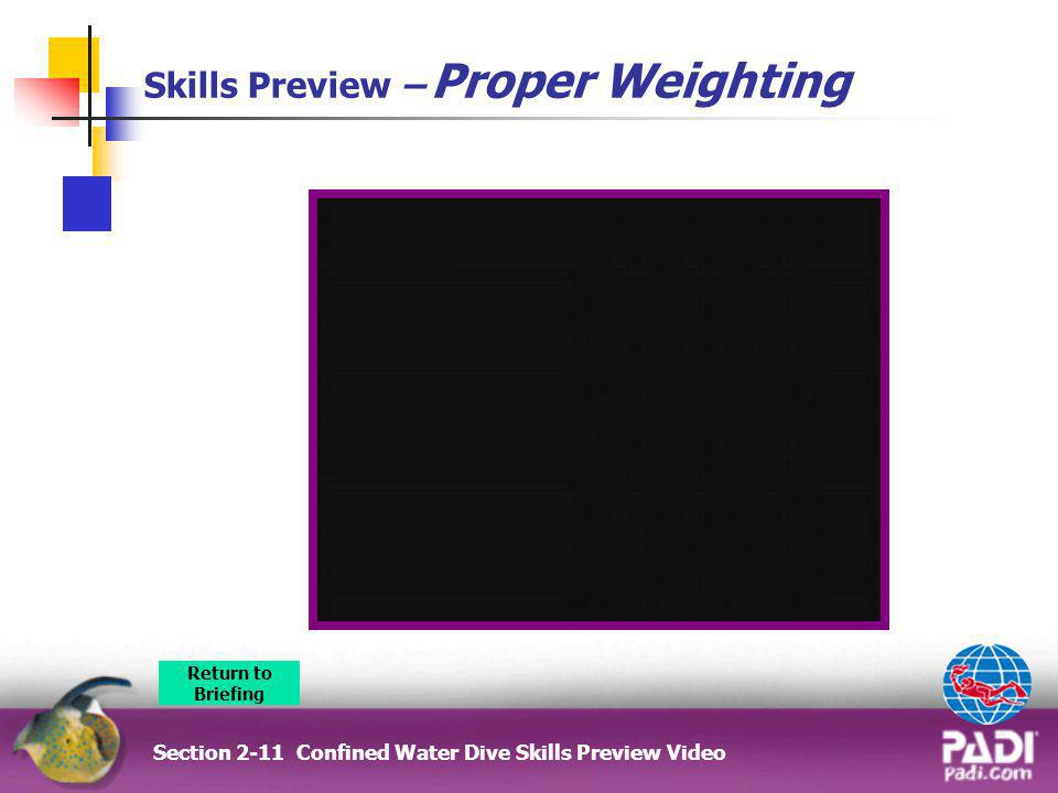 Skills Preview – Proper Weighting Section 2-11 Confined Water Dive Skills Preview Video Return to Briefing