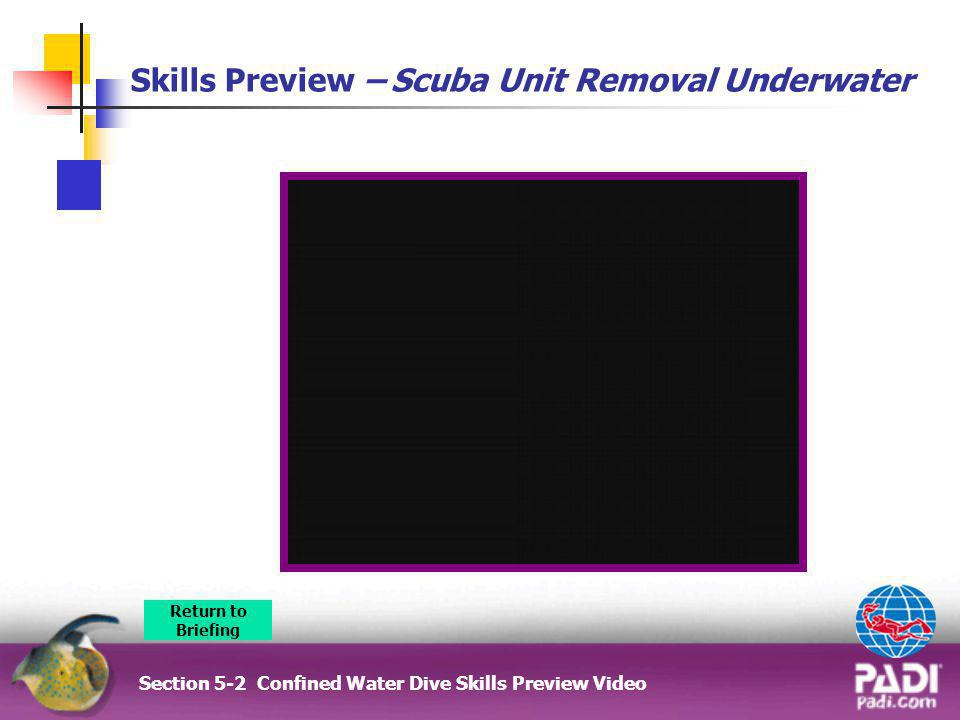 Skills Preview – Scuba Unit Removal Underwater Section 5-2 Confined Water Dive Skills Preview Video Return to Briefing